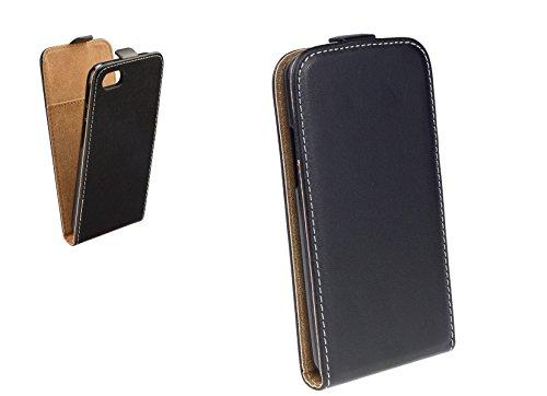 Handy Flip Case schwarz mit integrierter Silikonhülle für