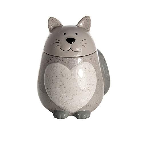 SPOTTED DOG GIFT COMPANY Barattolo per Biscotti Barattolo da Cucina Ceramica Contenitori Alimentari Forma di Gatto Vaso per Biscotti Bianco Disegno