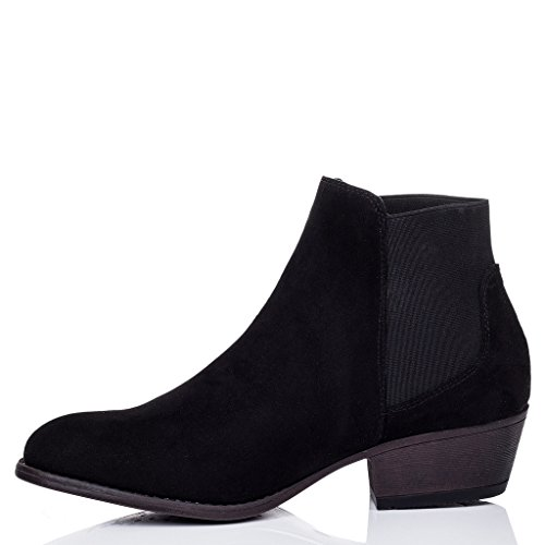 SPYLOVEBUY BELLA Femmes à Talon Bloc Chelsea Boots Bottines Noir - Simili Daim
