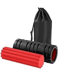 ZUOAO Foam Roller - Rouleau de Massage en mousse - 33 x 15 cm - Foam Rouleau pour Yoga/Pilates - Parfait pour Coureurs, Crossfit, Massage Therapy - IT Band & Full Body Stiffness Relief(Noir et Rouge)