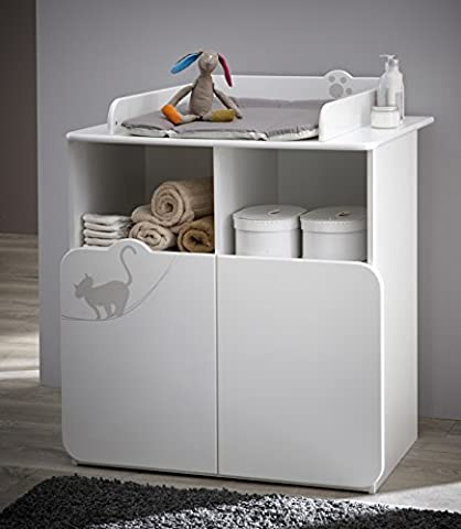 Demeyere 147977 Kitty Commode Table à Langer avec 2 Portes/2 Niches Blanc/Taupe 87 x 73 x 101 cm