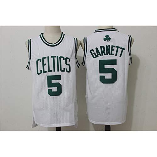 ATI NICE Herren KG Kevin Garnett # 5 Boston Celtics Basketball Trikot Vintage Gym Weste Sport Top Urban All Stars Ärmelloses T-Shirt,Weiß,M:170cm~175cm -