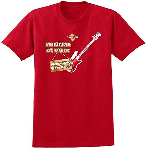Bass Guitar Dont Wake Me - Red Rot T Shirt Größe 87cm 36in Small MusicaliTee (Shubb Capo Für Akustik-gitarre)