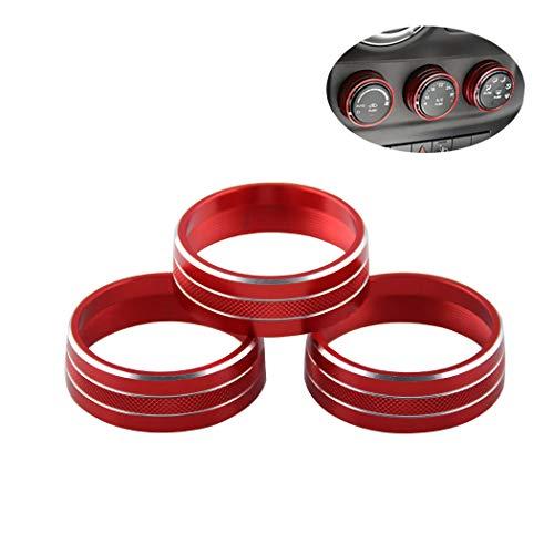CARZJ Audio Klimaanlage Knopfabdeckung Dekoration Drehschalter Ringverkleidung Autoinnenausstattung Ring für Jeep Wrangler 3er Pack -