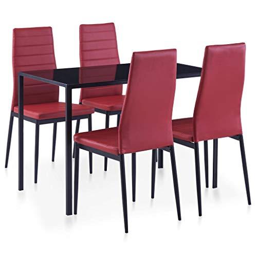 Festnight 5-TLG. Essgruppe Weinrot Esszimmertisch | Esszimmer Stuhl | Esstisch und Stuhlset | Küchentisch