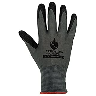 10 Pairs of Tatendrang I EN388 Work Gloves with Latex Coating - by Freiherr, Size M
