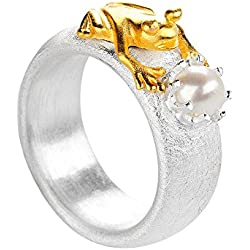 Mujer-ring drachenfelshotel rana 925 plata parte dorado corte brillante perla agua dulce-perla cultivada blanco D FR 132/AG
