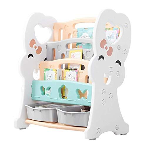 TONGSH Kinder Bunte 2 Schubladen Spielzeug Container Aufbewahrungsboxen mit 3 Tier Sling Book Storage Organizer Bücherregal Regal Einheit - Tier-ecke Bücherregal