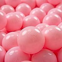 KiddyMoon 200 ∅ 7Cm Bolas Colores De Plástico para Piscina Certificadas para Niños, Rosa Claro