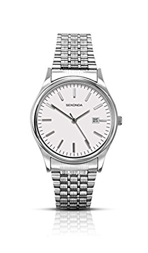 Sekonda-Mens-Quartz-Watch-with-White-Dial-Analogue-Display-and-Silver-Stainless-Steel-Bracelet-114927