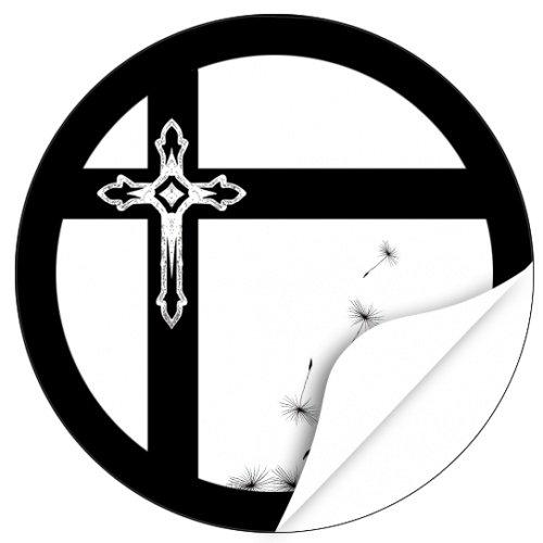 20 x Etiketten Trauer, rund / Kreuz im Kreuz / Beerdigung / Beileid / Tod / Bestattung / Bestatter / Bestattungsunternehmen / Aufkleber für Umschläge