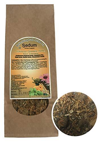 Té Herbal Sedum Mezcla - Equinácea, caléndula, tomillo, albahaca, canela - Té de hierbas sabroso y natural para la sauna - Té refrescante y relajante - Recogido a mano en la UE - 50g