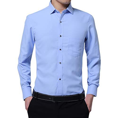 Crazboy Herren Mode Geschäft Slim Fit Bluse Einfarbig Über Größe Langärmelig Hemd Oben(Himmelblau,Large)