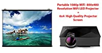 HOT COMBO Portable 1080P 800x480 Resolution WiFi LED Projector + High Quality 6 x 4 Projector Screen