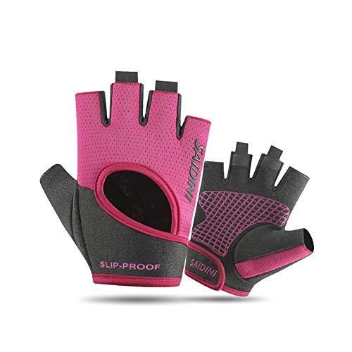 Fitness Handschuhe Damen Herren Atmungsaktive Trainingshandschuhe für Gym Krafttraining Crossfit Bodybuilding Gewichtheben Workout Reiten,Pink-XL