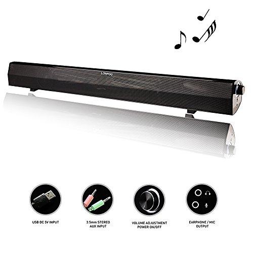 LONPOO 10W Powerfull USB Soundbar Lautsprecher 23.5-Zoll Speaker Für PC Computer Tablet Smartphones(lp-500)