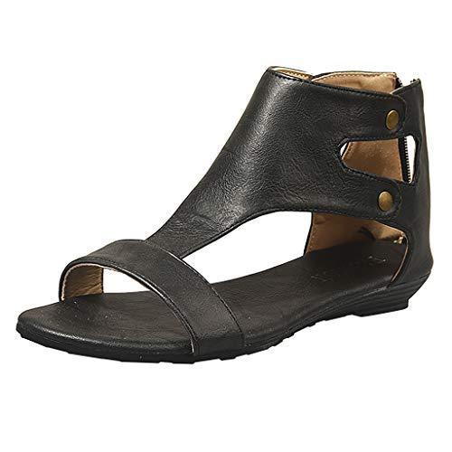 Makefortune  Womens Ladies Mid Heel Fußbett Wedge Sandalen New Gladiator Sommerkleid Abend Riemchen aushöhlen Sandalen Schuhe Größe 4-8