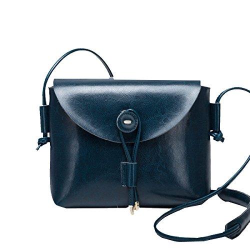 Yy.f Art Und Weise Handtaschen Aus Leder Einfache Schulter Messenger Tasche Kleiner Platz Freizeit Wilde Retro-Ledertasche Damenmode Tasche Kleine Tragbare Schultertasche Handtasche Blue
