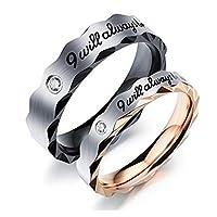 خاتم بروميس زوجين للزواج والخطوبة بنقش سابقى معك دومًا مقاس 5 ملم 3.5 ملم للرجال والنساء من زن وورلد 7 US