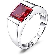 81432d7634 JewelryPalace Uomo Quadrata Sintetico Zaffiro Alessandrite Rubino Nano  Russo Artificiale Smeraldo Naturale Quarzo Anello di Fidanzamento