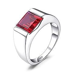 Idea Regalo - JewelryPalace Uomini Quadrata 3.3ct Sintetico Rosso Rubino 925 Sterling Argento Fidanzamento Anello 17