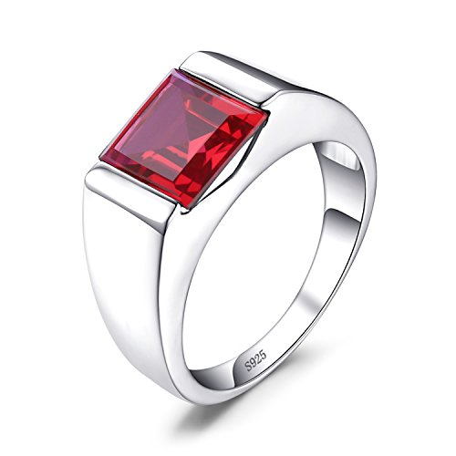 Jewelrypalace 3.4ct Gentleman Luxus Rot Synthetisch Rubin Herren Ringe 925 Sterling Silber (Herren-ruby Ring)