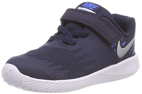 Nike Unisex Baby Star Runner (TDV) Hausschuhe, Mehrfarbig (Obsidian/Metallic Silver-Signal Blue 406), 22 EU - Store Nike