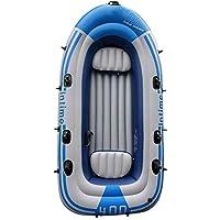 JIEXIAO 2/3/4 Persona del Barco fijada, Barco Inflable del Equipo con Bomba de Aire de paletas, Conjunto Kayak Canoa PVC Barco de Deriva,Four Person Boat