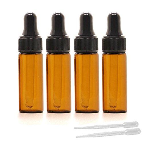 5 ml bernsteinfarbene Tropferfläschchen, 15 Stück, ätherische Öle, Tropfflaschen mit 3 ml Transferpipetten, Parfüm-Probe, Glas-Dopper-Vials mit schwarzer Kappe.