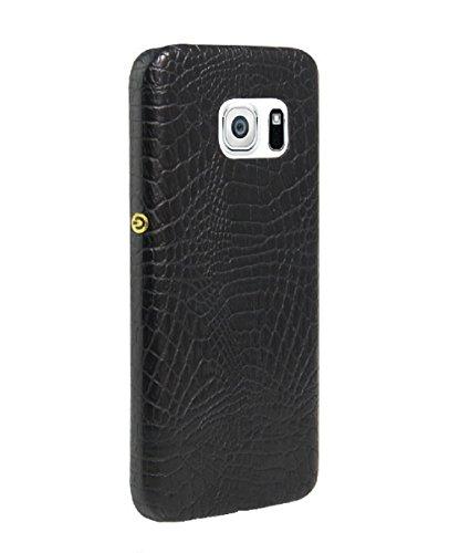 Coque Galaxy S6 Edge, Vanki® Vintage Series Crocodile texture en cuir souple Coque rigide Cover Case pour Samsung Galaxy S6 Edge Noir