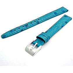 Ladies Genuine Leather Watch Strap Band Ostrich Grain 12mm Light Blue with Chrome (Silver Colour) Buckle WH1113S
