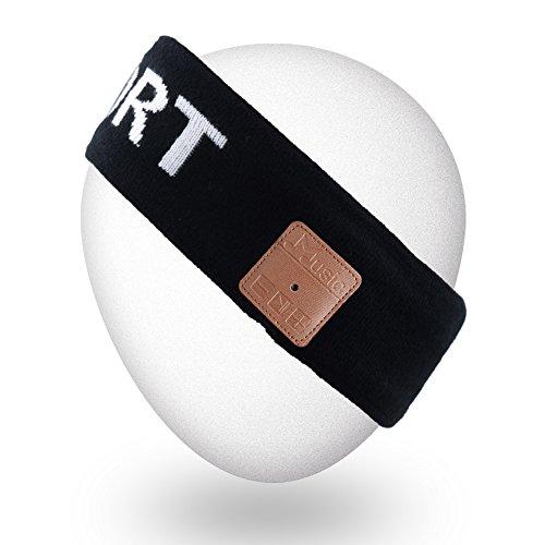 Mydeal Outdoor Wireless Bluetooth Stirnband mit Kopfhörer Stereo Lautsprecher Mic Hands Free für Sport Fitness Workout Jogging Laufen, kompatibel mit iPhone Android Handys - Schwarz (Samsung 4 Galaxy Lite 7 Tab)