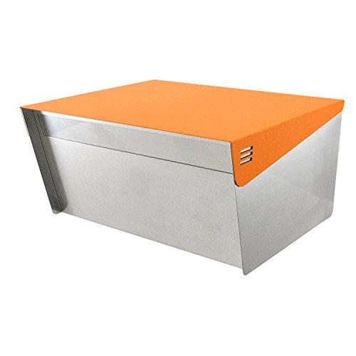 Katanabox Briefkasten mit Schloss und Schlüssel, Edelstahl, rostfrei, für modernes Haus, Wohnung, ländliche Straße, 30,5 x 38,1 x 20,3 cm Orange