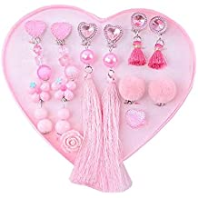 Fingi Toy for Kid, 6pcs Orecchini a clip con anelli Gioielli Dress Up Set da gioco, C
