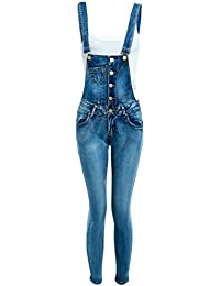 cb7590affb3e SS7 Womens Dungaree Slim Fit Stretch Denim Blue Ladies Dungarees Jeans Size  6 8 10 12