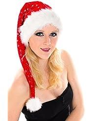 Große XXL Lange Weihnachtsmütze Nikolausmütze Glitzer Rot Santa Mütze Nikolaus