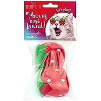 PRETTY KITTY 2X XXL Plüsch Erdbeere Katzenspielzeug mit Katzenminze und Glocke (2 Stück)