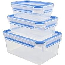 Emsa Clip&Close - Set de 3 Conservadores Herméticos de Plástico Rectangular de 0,5L  1L y 2,3L , higiénico, no retiene olores ni sabores 100% libre de BPA