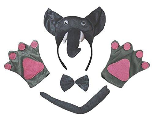Petitebelle 3D-Stirnband Bowtie Schwanz Handschuhe 4pc Kostüm Einheitsgröße 3d Elefant