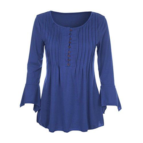 MRULIC Geschenk Zum MuttertagWomen Autumn Flare 3/4 Sleeve Slim V Neck Buttons Blouse Tops Tee Shirt(Blau,EU-38/CN-M) (Strickjacke Sleeve 4 3)