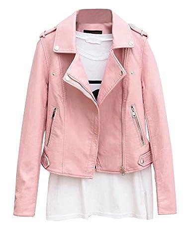 Femmes Mesdames Cuir Biker Moto Zipper Faux Cuir Manteau Biker Veste Pink XL