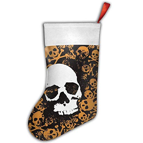 Pop Rock Yellow Skull Crossbones Christmas Hanging Stocking,Assorted Santa Gift Socks Hanging Accessories for Xmas Tree Decoration Only Printed One Side
