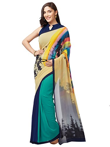 SOURBH Women's Faux Georgette Printed Saree (7636_Turquoise_FreeSize)