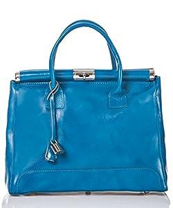 italienische Damen Henkeltasche Monaco aus echtem Leder in himmel blau, Made in Italy, Handtasche 34x26 cm