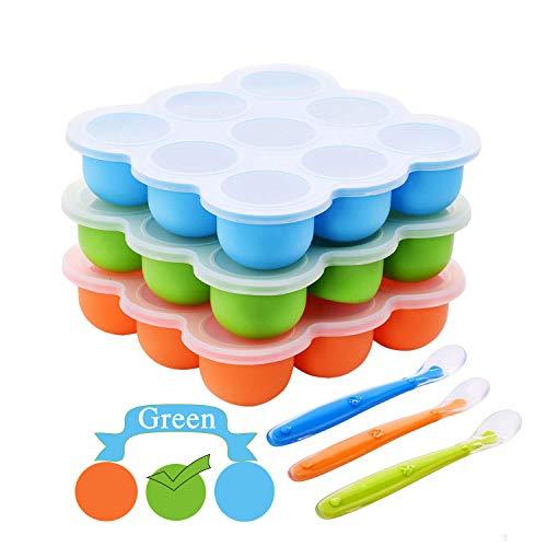 Contenitore da freezer per conservazione cibo per lo svezzamento dei neonati,misura grande,con coperchi e cucchiaio,in silicone,senza BPA,sicuro e riutilizzabile,colore:verde