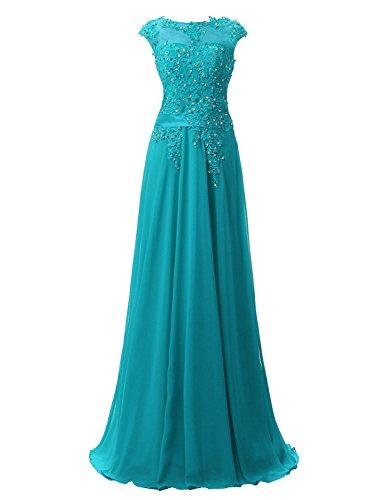 Clearbridal Damen Chiffon Lange Ballkleider Abschusskleider Abendkleider mit Applikation CSD181 Pfau...