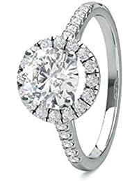18K blanco oro 4Prong Setting lado Diamond Halo Compromiso Anillo de boda tamaño–5,5