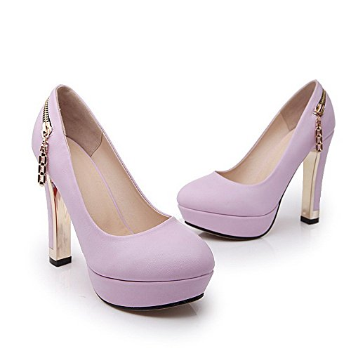 VogueZone009 Femme Tire Fermeture D'Orteil Rond à Talon Haut Pu Cuir Couleur Unie Chaussures Légeres Violet