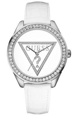 Guess Mini Triangle - Reloj de cuarzo para mujer, con correa de cuero, color blanco