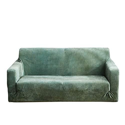 Plüsch Dick Sofa Überwurf, 1 2 3 4 Sitzer Reine Farbe Sofabezug Velvet Einfach fit elastisch Aus Stoff Stretch Sofa Abdeckung-grün 2 Sitzer 145-185cm (Sicher Fit Sessel Schonbezug)